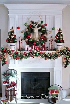 30 Stunning Christmas Fireplace Decoration Ideas 81 A whole Bunch Christmas Mantels 2013 — Style Estate 6 Christmas Mantels, Noel Christmas, All Things Christmas, White Christmas, Beautiful Christmas, Christmas Fireplace Decorations, Rustic Christmas, Fire Place Christmas Decor, Whimsical Christmas