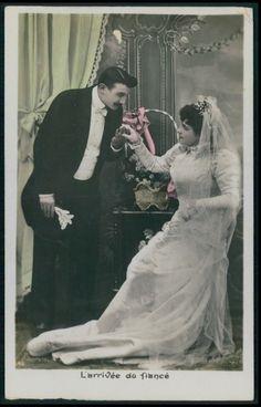 Edwardian Lady Bride Kiss Groom Marriage Wedding Vintage Old 1910 Photo Postcard…