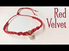 Macrame necklace tutorial: The red velvet - YouTube