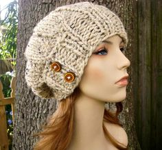 Hand Knit Hat Womens Hat  Urchin Beret Hat With by pixiebell, $50.00