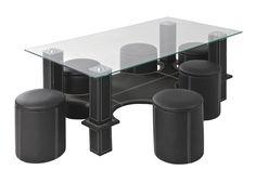 Diese Tischgruppe bietet Ihnen ein stimmiges Set für Ihren Essbereich. Im Mittelpunkt steht der Tisch mit einer robusten Glasplatte. 6 passende Hocker im schwarzen Lederlook bieten gemütliche Sitzgelegenheiten beim sonntäglichen Brunch! Weiße Kontrastnähte verleihen den Möbeln eine spannende Optik. Dank runder Aussparungen am Tisch können die 6 Hocker platzsparend verstaut werden. Komfort und stimmiges Design: Die Tischgruppe von CARRYHOME bringt Ihre Lieben an einem Ort zusammen!