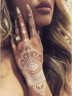 Stunning White Henna Tattoo For Women