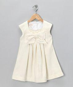 Another great find on #zulily! Ivory Harp Linen-Blend Dress - Toddler #zulilyfinds