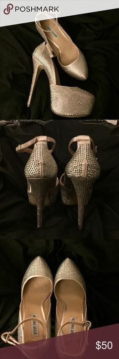 Steve Madden Heels These beautiful Steve Madden heels were purchased from Macy's and only worn once! They are covered in crystal rhinestones that catch the light no matter where they are worn! Steve Madden Shoes Heels