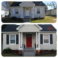This is before and after on our house, we wanted to add curb appeal. Painted door and replaced hardware, spray painted shutters and painted porch. Total cost $150, one day project that made a huge difference!