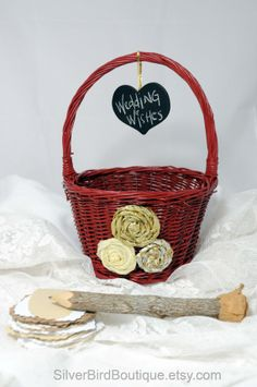 Wedding Basket, Alternative Guest Advice Bride and Groom, Chalkboard Tag, Dark Red Basket, Rosettes, Gold, Cream, Bridal Advice Basket by www.SilverBirdBoutique.etsy.com