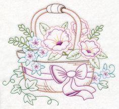 Kitchen Floral Basket (Vintage) design (M11081) from www.Emblibrary.com