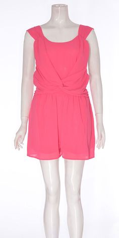 e12341c56a57 Ladies Sleeveless V Back Chiffon Playsuit Fushia