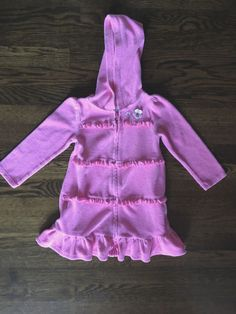 b4d01a90e8bb8 Gymboree Toddler Girl Pink Terry Cloth Hooded Swimsuit Cover Up 3T  Gymboree   CoverUp Girls