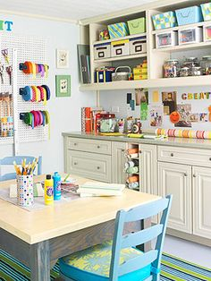 My dream craft room/office Craft Room Storage, Craft Organization, Craft Rooms, Storage Ideas, Paper Storage, Small Storage, Organizing Crafts, Ribbon Storage, Organizing Life