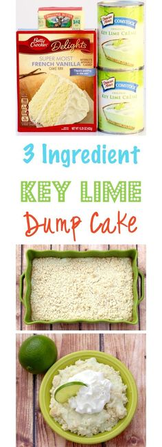 Get your Key Lime fix with this ridiculously EASY 3 I… Key Lime Dump Cake Recipe! Get your Key Lime fix with this ridiculously EASY 3 Ingredient Cake Mix Dump Cake! This creamy, delicious Key Lime Dessert is always in season! Key Lime Desserts, Köstliche Desserts, Key Lime Dessert Recipes Healthy, Health Desserts, Lemon Desserts, Homemade Desserts, Poke Cakes, Cupcake Cakes, Rose Cupcake