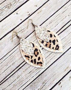 Cheetah Leather Earrings, Cream Leather Earrings, Leopard Leather Earrings, Glitter Earrings, Gold L Dyi Earrings, Neutral Earrings, Diy Leather Earrings, Bar Stud Earrings, Cream Earrings, Amber Earrings, Small Earrings, Unique Earrings, Tassel Earrings