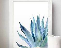 Plant Watercolor Agave print Agave Leaves Blue Art Plant Making money happens to be related to traditional ways in the … Watercolor Plants, Watercolor Leaves, Watercolor Paintings, Simple Watercolor, Tattoo Watercolor, Watercolor Animals, Watercolor Techniques, Watercolor Background, Watercolor Landscape