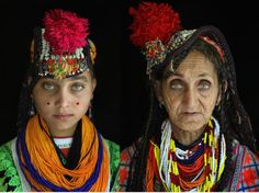 "Beautiful women of Kalash, ""who legend says are part-fairy and part-human because of their ethereal  beauty. Local people say the Kalash woman can make a man lose his  religion. As the story goes, when a Kalash woman drinks water, you can  see it streaming down her throat. Yet they are considered impure in  their own community; they are also called 'whiter than the white.'"""