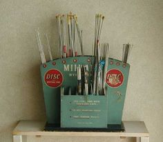 Vintage knitting needle display stand from UK, around 1920 - 30.