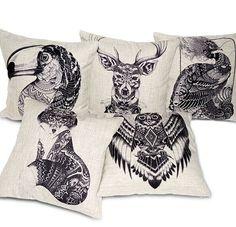 creative totem animal Retro peacock owl deer big mouth bird cotton linen throw pillow case/houseware #Affiliate