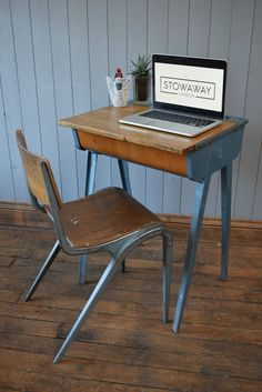 Vintage Industrial Desk With Ink Well & Stacking Chair by Esavian James…