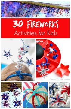 30 Creative Fireworks Activities for Kids.includes sensory play, art, crafts, and treat ideas Patriotic Crafts, July Crafts, Summer Crafts, Holiday Crafts, Holiday Fun, Crafts For Kids, Arts And Crafts, Art Crafts, Summer Fun