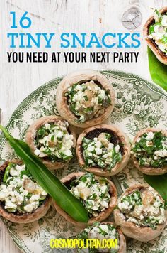 SUPER BOWL SUNDAY PARTY FOOD: Everyone will love these tiny snacks and appetizers recipes and ideas. Here you'll learn how to easily make crab cake bites, stuffed mushrooms, stuffed peppers, baked mozzarella bites, dumplings, and more! Click through for the delicious, easy, and fun snack ideas you *need* for your Super Bowl party.
