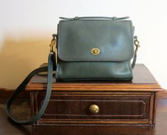 Coach Court Bag In Green Leather With Brass Hardware Adjustable Crossbody Strap…