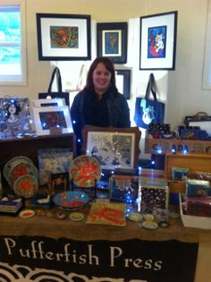 Me Selling my Ceramics and Prints - 2013 Madrigalli Market in Pacifica, CA. This was my third year participating and the best yet. This was the 7th year of the market. I am also looking to do the Santa Cruz Sea Glass Festival and Pacifica's Art on the Coast this upcoming year. www.pufferfishpress.com