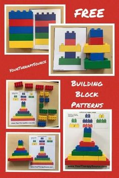 Building Block Pattern Freebie Building Block Free Sample Pages. Here are a few pages for Duplo size building blocks that are true to size. Excellent to allow children to self check their work. Progress in difficulty. Lego Duplo, Lego Activities, Educational Activities, Preschool Activities, Block Center, Block Area, Preschool Classroom, Preschool Learning, Teaching