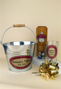 Tavern Gift Set: Personalized Capcatcher bottle opener, Pint Glass and Beer Bucket + Gift Wrap Kit