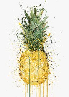 Pineapple Fruit Wall Art Print – We Love Prints Leaf Wall Art, Leaf Art, Diy Wall Art, Pineapple Drawing, Pineapple Art, Watercolor Fruit, Fruit Painting, Pinapple Painting, Arte Indie