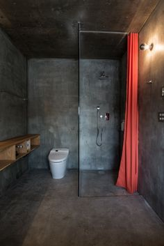 Minimalist L House Building as Modern Resort in Niseko: Charming L House Design Interior In Small Bathroom Decorated With Concrete Material And Glass Shower Room Design Ideas ~ SFXit Design Architecture Inspiration Bathroom Interior, Modern Bathroom, Small Bathroom, Minimal Bathroom, White Bathrooms, Shower Bathroom, Luxury Bathrooms, Industrial Bathroom, Master Bathrooms