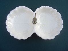 Stangl Pottery Vintage Divided Candy Dish White Embossed Leaf Brass Handle. $10.00, via Etsy.