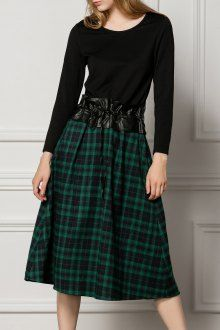 Shop lorcharea deep green a line midi plaid dress here, find your midi  dresses at dezzal, huge selection and best quality.