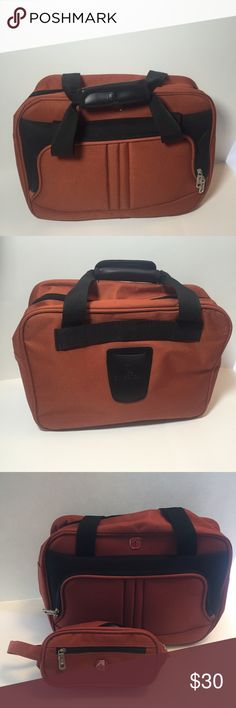 Swissgear messenger laptop bag NWOT Swissgear laptop messenger business bag . Fits laptop has side pocket and shoulder strap . Comes with a matching pencil bag or toiletries. Orange/ gray see pics for dimensions . Nice bag sturdy SwissGear Bags Laptop Bags