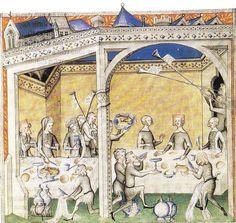 """""""le repas Seigneurial"""" tiré du Remède de Fortune de Guillaume de Machaut -1350"""