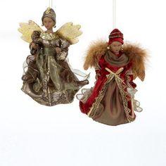 "Set of 2 Kurt Adler 7"" Black Angels in Brown/Burgundy Dress Christmas Ornaments"