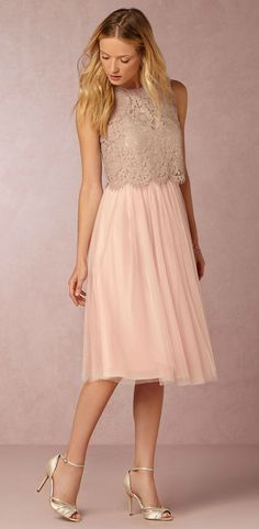 New bridesmaid dresses! | Cleo lace top and Maia Dress from @BHLDN