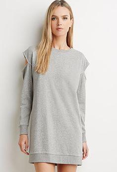 Contemporary Cutout-Shoulder Sweatshirt Dress