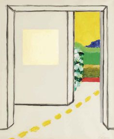 "blastedheath: ""Roger Raveel (Belgian, 1921-2013), The door, 1981. Gouache on paper, 59 x 49 cm. """