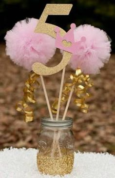 Pink and Gold Birthday Decorations – Princess Centerpiece – Pink and Gold Centerpiece with Custom Number and Pom Pom Wands - Birthday Party 2 Gold Party, Pink And Gold Birthday Party, Golden Birthday, Glitter Party, Pink Und Gold, Rose Gold, Unicorn Birthday, Unicorn Party, Décoration Baby Shower