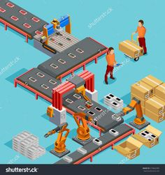 Buy Automated Factory Production Line Isometric by macrovector on GraphicRiver. Automated factory assembly line with robotic arm and conveyor belt controlled manufacturing process isometric poster . Isometric Cube, Isometric Design, Marketing Digital, 3d Modellierung, Design Sites, Arm Stock, Production Line, Assembly Line, Graph Design