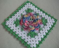 Crochet Potholder in Thread with Pastel Rose Flower --- New in Vintage Style by Acadian Crochet, via Flickr
