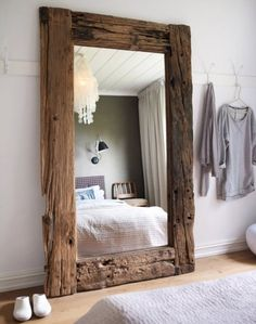 Beach wood mirror - possibly for pool bathroom.