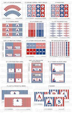 Printable DIY Blue and Red Sailboat Nautical Theme Personalized Boy LARGE Baby Shower Package. $30.00, via Etsy.