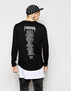 ASOS Super Longline Long Sleeve T-Shirt With Yeezus Print And Side Zips