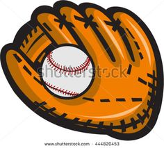 Illustration of a baseball glove and ball viewed from front set on isolated white background done in retro style. #baseball #retro #illustration