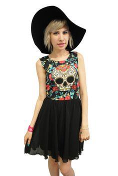 Sugar Skull Chiffon Dress