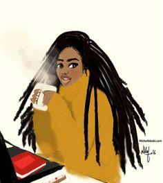 French Artist, Nicholle Kobi, Brings Black Girl Magic To Life Through Her Black Love Art, Black Girl Art, Black Is Beautiful, Black Girl Magic, Big Afro, Curly Afro, Afro Puff, Short Afro Hairstyles, Arte Black