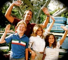"""Clark W, Ellen, Rusty & Audrey Griswold and the their """"metallic pea"""" Family Truckster... National Lampoon's Vacation. One of the BEST comedies of the 80's and all time. :)"""
