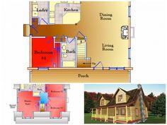 Living Room Bedroom, Master Bedroom, Log Home Floor Plans, Log Homes, Kitchen Dining, Porch, Custom Design, Flooring, How To Plan