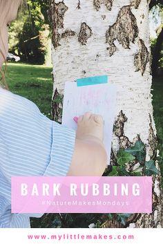 MY LITTLE MAKES - BARK RUBBING | www.mylittlemakes... | DIY, kids craft, children\'s art, nature art, toddler craft, crayons, process art | #kidscraft #childrensart #natureart #toddlercraft #crayons #processart #barkrubbing #naturemakesmondays