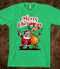 Santa Claus and his Reindeer wish you a Merry Christmas #Skreened #Cardvibes #Tekenaartje #Christmas